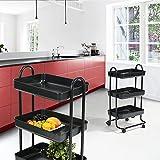 ZOKA fanilife Rolling Aufbewahrung Esstisch Warenkorb 3Etagen Mobile Metall Küchenwagen Aufbewahrung Einheiten Küche Garden Hotel schwarz