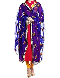 A Pure Blend Of Hand Embroided Premium Royal Blue Punjabi Phulkari Dupatta With Multi Colored Embroidery By Fly...