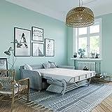 place to be hochwertiges Schlafsofa mit 140 cm Liegefläche + Kaltschaum-Matratze + Lattenrost - einfach ausklappbar hellgrau Fleckschutz + 16 weitere Farben