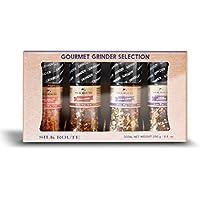 Silk Route Spice Company Set de regalo Grinder x 4 1 x Sal rosada del Himalaya 1 x Amante de Chile 1 x Amante del ajo x 1 Condimento