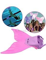 CkeyiN® Aletas Natación para Niños Diseño de sirena - Morado