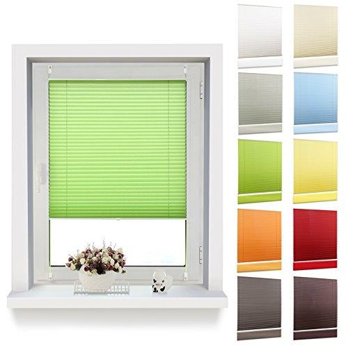 OUBO Plissee Klemmfix 65 x 140 cm (B x H) Grün, Jalousie ohne Bohren Sich- und Sonnenschutz Faltrollo