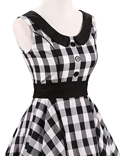 VKStar® Retro Kleider Damen 50er 60er Vintage Kleider sommer ärmellos Rockabilly Abendkleid Schwarz-Weiß