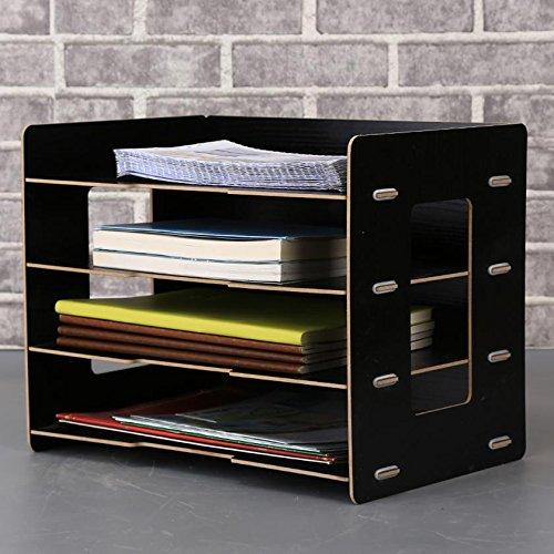 HETAO Wooden File Basket Desktop-Datei Halter A4 Datei Bar A5 Multifunktionale Aufbewahrungsbox Bürobedarf 34 * 23 * 27CM , black (send pen holder + mobile phone rack)Einfach und stilvoll