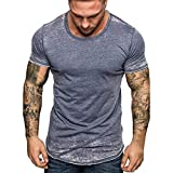 T-Shirt Homme Casual,Hommes Été T-Shirt Impression Slim Fit col en V à Manches Courtes Sweatshirt Coton Muscle Fitness Sport Casual Tops Blouse Chemises