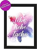 PICSonPAPER Poster Din A4 Lebe, Liebe, Lache, gerahmt mit Schwarzem Bilderrahmen, Geschenk, Geschenkidee, Geburtstagsgeschenk, Poster mit Rahmen (Lebe Liebe Lache)