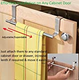 #8: Desi Rang™ Extendable Over Cabinet Door Towel or Napkin Bar without Screw, Nails, easily removable, flexible, 9