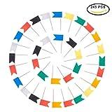 PandaHall Elite - 245 Stück Push Pins Plastikkarten Pins Card Tacks Push Pins Pin Flag Reißzwecke mit Stahl Pins für Office Fotokarten Notizen, 7 Farben, 7,2 x 1,2 x 8 cm