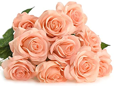 FiveSeasonStuff® 10 Stems of Real Touch Silk 'Petals Feel and Look like Fresh Roses' Artificial Flower Bouquet Floral Arrangement, Perfect for Wedding, Bridal, Party, Home, Office Décor DIY (Peach #13)