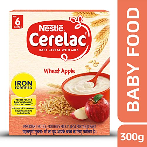 Nestle Cerelac Fortified Baby Cereal with Milk, Wheat Apple – From 6 Months, 300g Pack