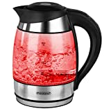 Wasserkocher Edelstahl/Glas mit Farbwechsel 1,8L 360° drehbarer Kontaktsockel inkl. Kalkfilter 2200W