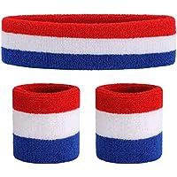 ONUPGO Sweatband Set - Sports Headband Wrist Striped Sweatbands Terry Cloth Wristband Athletic Exercise Basketball Wrist Sweatband and Headbands Moisture Wicking Sweat Absorbing Head Band