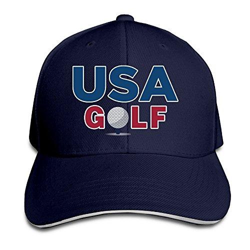 Hittings Men's USA Golf Rio Team Club Washed Twill Sandwich Caps Hats Navy -