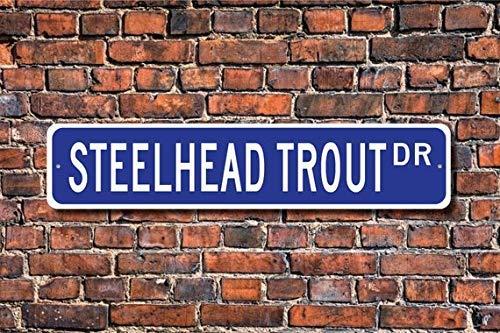 HSSS Steelhead Forelle Steelhead Forelle Geschenk Stahlhead Forellenschild Forellendeko Forellenliebhaber Fisch Custom Straßenschild Metallschild 10,2 x 45,7 cm -