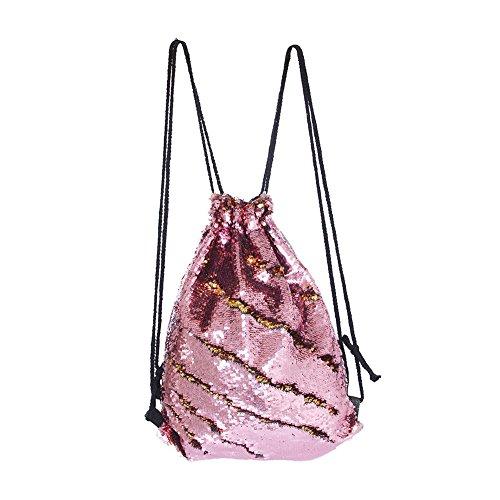 DrCosy Meerjungfrau Pailletten Tasche Kordelzug Pailletten Rucksack Glitter Meerjungfrau Rucksäcke Magie Tanz Taschen für Kinder Erwachsene (35X45cm,Gold/Rosa) (Handtasche Tasche Rucksack)