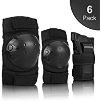 IPSXP Protective Knee Pads, Protective Gear with knee elbow wrist pads for kid children teenager adult for Rollerblading, Skating, Skateboard, Scooter, Biking, Cycling