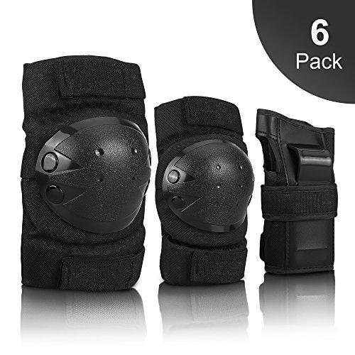Protektoren Set, IPSXP Schoner Schutzausrüstung Set mit Ellbogenschützer Knieschützer Armbänder für Kinder und Erwachsene Skater, Rollerblading, Skateboard, Roller, Fahrradfahren (45-57.5 kg)