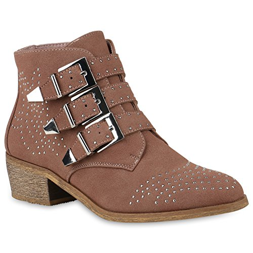 Damen Biker Boots Schnallen Stiefeletten Nieten Schuhe Blockabsatz 147330 Rosa Nieten 37 Flandell