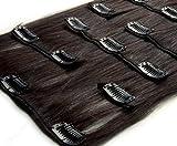 2 Dunkelbraun Clip In Extensions Set 100% Echthaar 7 teilig 70g Haarverlängerung 46 cm Clip-In Hair Extension