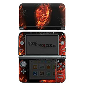 DeinDesign Skin kompatibel mit Nintendo New 3DS XL Aufkleber Sticker Folie Totenkopf Skull Fire