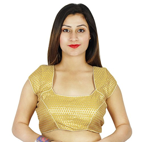 Tissage Wedding Party Wear Indian Blouse Ready-Made Designer Cousu Crop Top Beige