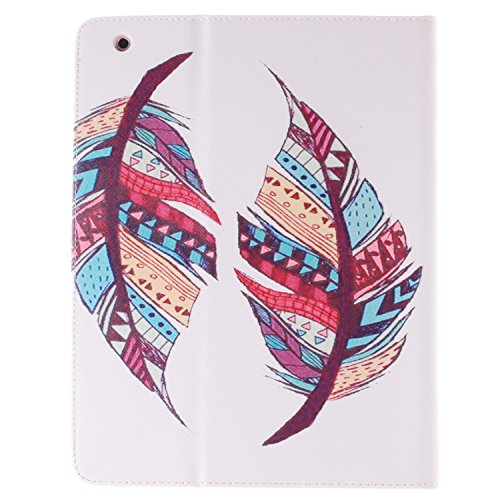 Ipad 2 3 4 Wallet Cover, Ipad 2 3 4 Flip Leather Case Back Cover, Ukayfe Stand Function PU Leather Case Premium Soft Slim Cover Bookstyle with Magnet Closure Credit Card Holder Slots for Apple iPad 2  Tribal feather # 1