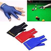 Spandex Snooker Billiard Cue Glove Pool Mano Izquierda Open Three Finger Accessory (Color: Negro)
