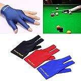 Gugutogo Spandex Snooker Billard Queue Handschuh Pool Linke Hand Offen Drei Finger Zubehör (Farbe: Schwarz)