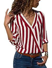d928d49da658 Bluse Damen Frühling Herbst Gestreiftes Hemden Langarm Mode Unikat Style  Vintage Oberteile Elegante Casual V-