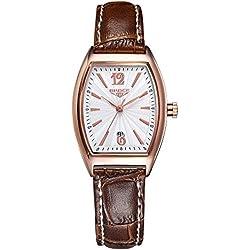 ladies waterproof watches/Retro calendar leather strap watch/Leisure quartz watch-E