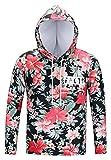 Pizoff Unisex Hip Hop Cosplay Sweatshirt Maskerade Kapuzenpullover mit Bunt 3D Blumen Floral Digital Print - Ag002-01 - X-Large