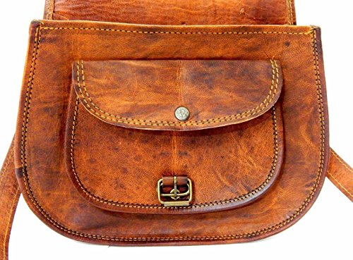 Handmade Genuine Leather Ladies Satchel Purse Handbag Vintage Cross-body Bag – Free Surprise Gift