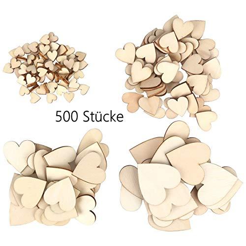 chzeit, 500 Stück Holz Herzen Scheiben Naturholzscheiben unlackiert Holzherzen für Tischdeko DIY Handwerk Verzierungen(Gemischt 4 Größen: 1cm 2cm 3cm 4cm) ()
