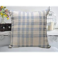 """Metallic Blue & Silver Check Curtis Shabby Chic Cushion Cover 17 x 17"""" with FREE Polyester Inner - Bedding Direct UK"""