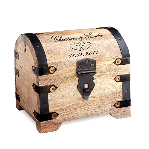 Schatztruhe mit Gravur - Motiv Herzen - Personalisiert mit Namen und Datum - Schmuckkästchen aus hellem Holz - Verpackung für Geldgeschenke - Hochzeitsgeschenke für Paare ()