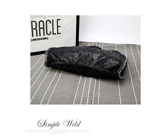 Damen PU lässigen Angleliu Kette Handtasche Modisch Schultertaschen Glitzer Beuteltasche Schwarze Kette schwarz