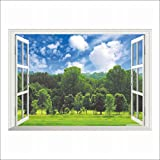 Bäume Blauer Himmel 3D 3D Wandaufkleber (Abnehmbar, Wasserdicht, Grün) für Wohnzimmer Schlafzimmer Büro Schlafsaal Hintergrund,Zahl