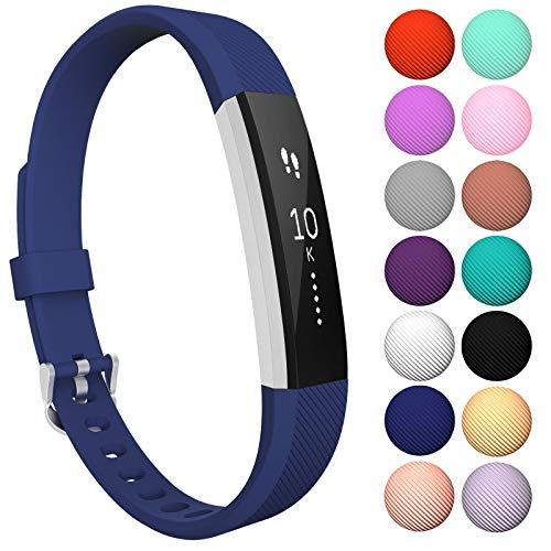 Yousave Accessories® Armband kompatibel für Fitbit Alta und Alta HR, Ersatzarmband - Silikon Wristband Zubehör für Alta und Alta HR - Erhältlich in 11 (Groß, Marineblau) - Koordiniert 20