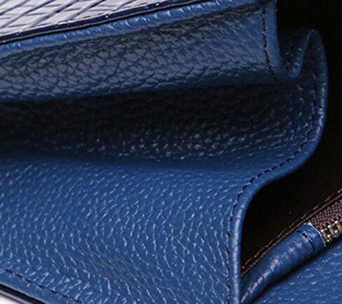 Sacchetto Di Mano Pelle Di Cuoio Sezione Trasversale Modello Del Coccodrillo Borse Catena Sacchetto Del Messaggero Blue