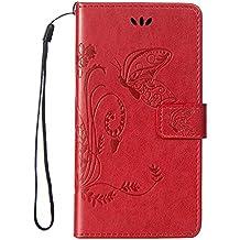 JODON Phone Funda Cover, Para Huawei Nexus 6P, [Emboss Flower Butterfly] Cartera de cuero premium de la PU [Soporte / Ranura para tarjeta] Con correa para la muñeca Funda de la funda con tapa de cordón ( Color : RED , Size : Huawei Honor Mate8 )
