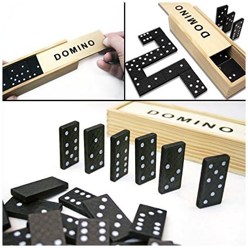 HOMETOOLSEU-4er-Spiele-Sammlung-Domino-Mikado-Wrfel-mit-Wrfel-Becher-Spiel-Karten-klassische-Spiele-fr-gesellige-Spiele-Abende-Domino-und-Mikado-mit-Holz-Box-4er-Set