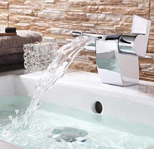 QMPZG-Kupfer, kreative Wasserfall, breiten Mund Wasserhahn, Wash Basin Wasserhahn, warme und kalte Armaturen Waschbecken waschen Waschbecken Wasserhahn,A