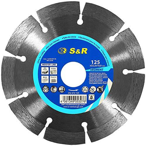 S&R Diamanttrennscheibe, Trennscheibe 125 x 22,23 x 10 x 2,2 mm Standard, lasergeschweißt zum Schneiden von Beton, armierter Beton, Granit, Naturstein, Ziegel