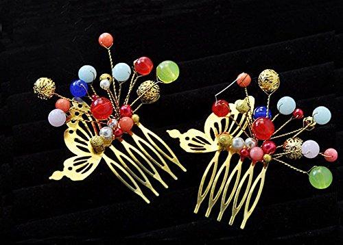 Ensemble de 2 traditionnel chinois cheveux de mariage peignes accessoire, coloré
