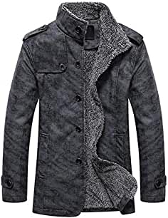 482f073713e7 MEIbax Herren Casual Button Thermische Leder Warme Jacken Herbst Winter  Steppjacke Übergangs-Jacke Teddy-