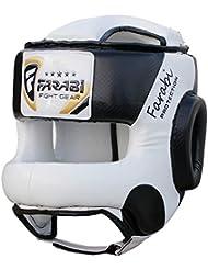Farabi Boxing MMA Muay Thai Fitness Kick boxing head guard head protector helmet Front Bar (White & Black, L/XL)
