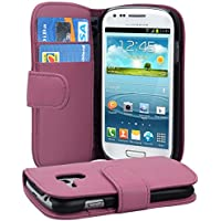 Cadorabo - Funda Samsung Galaxy S3 MINI (I8190) Book Style de Cuero Sintético Liso en Diseño Libro - Etui Case Cover Carcasa Caja Protección con Tarjetero en ROSA-ANTIGUO