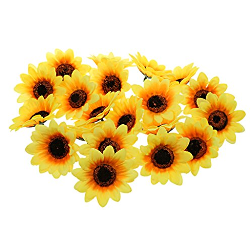 Gazechimp 30pcs Kunstseide Künstliche Sonnenblume Blumen Köpfe Hause Hochzeit Patei Deko Orange