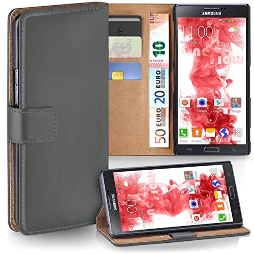 moex Samsung Galaxy Note 3 Neo | Hülle Dunkel-Grau mit Karten-Fach 360° Book Klapp-Hülle Handytasche Kunst-Leder Handyhülle für Samsung Galaxy Note 3 Neo Case Flip Cover Schutzhülle Tasche