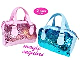 toyme 2Pack Mermaid Pailletten Kosmetiktaschen, funkelnder und Fashion Make-up Handtaschen, Bling Glitzer Abend Party Taschen für Mädchen und Frauen, pink & blau